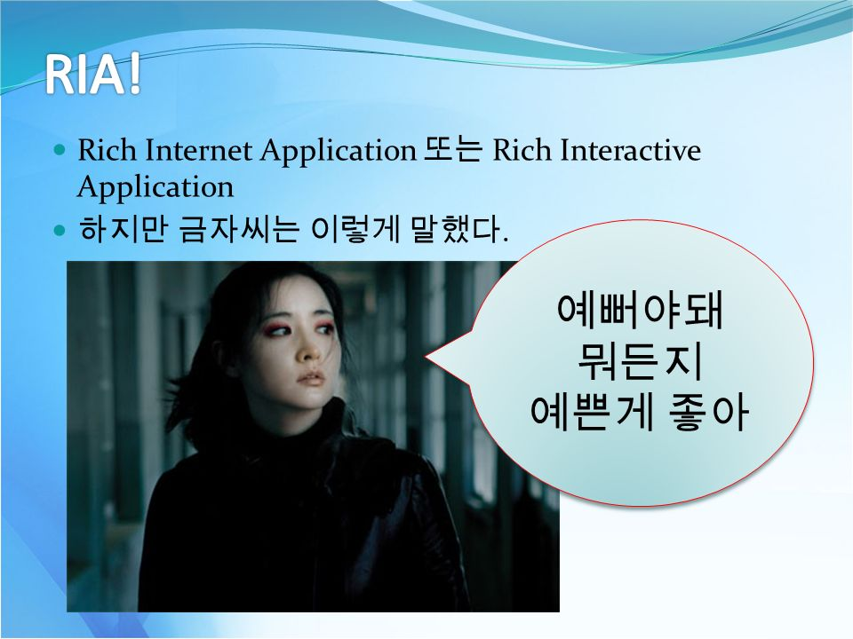 Rich Internet Application 또는 Rich Interactive Application 하지만 금자씨는 이렇게 말했다.