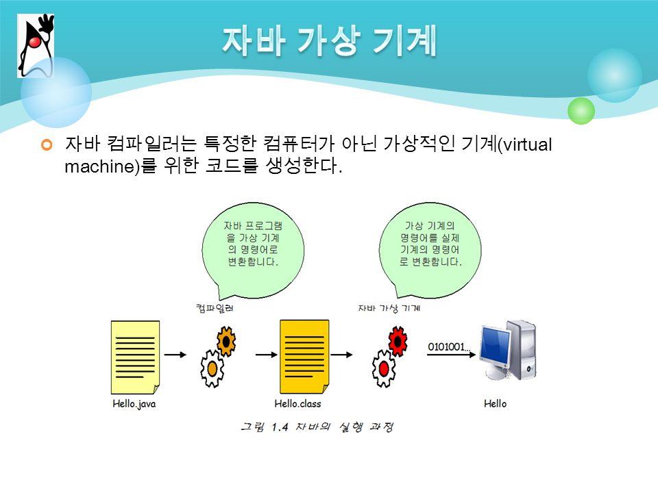 자바 컴파일러는 특정한 컴퓨터가 아닌 가상적인 기계 (virtual machine) 를 위한 코드를 생성한다.