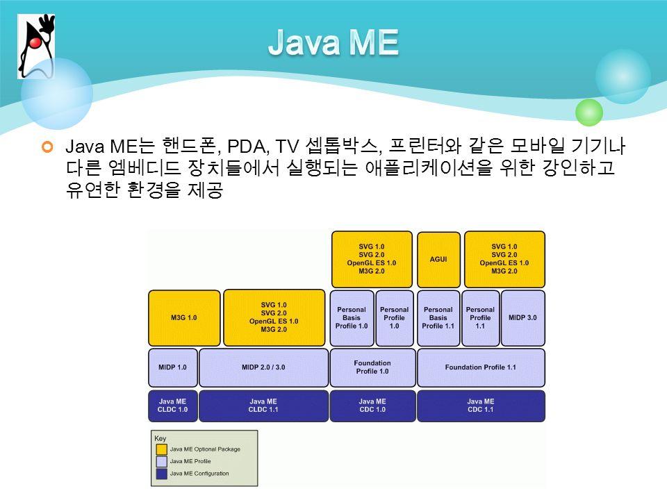 Java ME 는 핸드폰, PDA, TV 셉톱박스, 프린터와 같은 모바일 기기나 다른 엠베디드 장치들에서 실행되는 애플리케이션을 위한 강인하고 유연한 환경을 제공