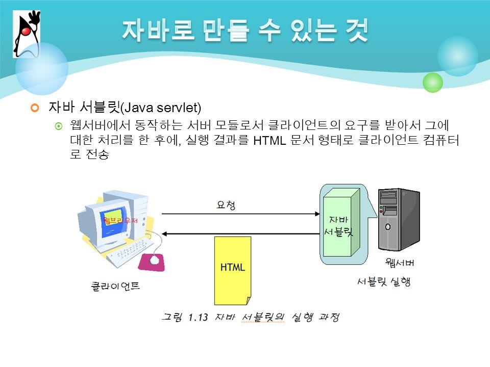 자바 서블릿 (Java servlet)  웹서버에서 동작하는 서버 모듈로서 클라이언트의 요구를 받아서 그에 대한 처리를 한 후에, 실행 결과를 HTML 문서 형태로 클라이언트 컴퓨터 로 전송