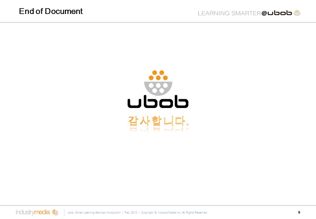 End of Document 9 ubob, Smart Learning Service Introduction | Feb.