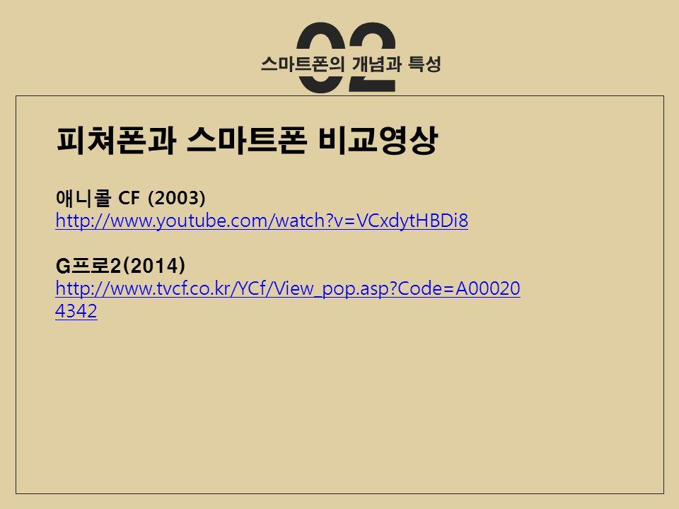 02 애니콜 CF (2003) http://www.youtube.com/watch v=VCxdytHBDi8 G프로2(2014) http://www.tvcf.co.kr/YCf/View_pop.asp Code=A00020 4342 피쳐폰과 스마트폰 비교영상