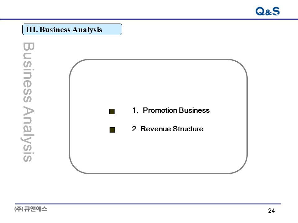 24 III. Business Analysis Business Analysis 1. Promotion Business 2. Revenue Structure