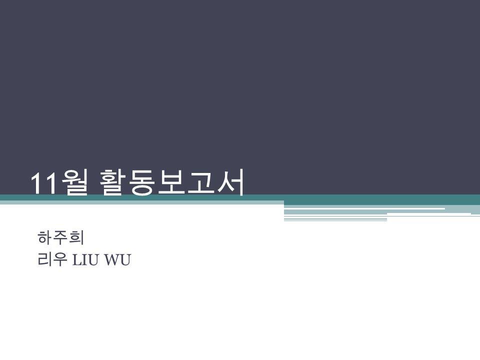 11 월 활동보고서 하주희 리우 LIU WU