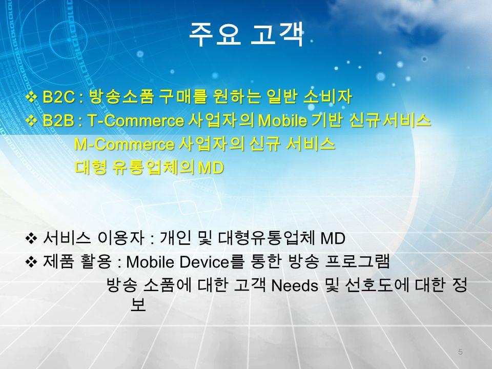 주요 고객 5  B2C : 방송소품 구매를 원하는 일반 소비자  B2B : T-Commerce 사업자의 Mobile 기반 신규서비스 M-Commerce 사업자의 신규 서비스 M-Commerce 사업자의 신규 서비스 대형 유통업체의 MD 대형 유통업체의 MD  서비스 이용자 : 개인 및 대형유통업체 MD  제품 활용 : Mobile Device 를 통한 방송 프로그램 방송 소품에 대한 고객 Needs 및 선호도에 대한 정 보