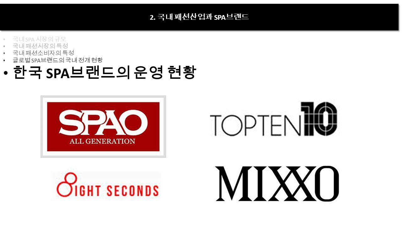 2. 국내 패션산업과 SPA 브랜드 국내 SPA 시장의 규모 국내 패션시장의 특성 국내 패션소비자의 특성 글로벌 SPA 브랜드의 국내 전개 현황 한국 SPA 브랜드의 운영 현황