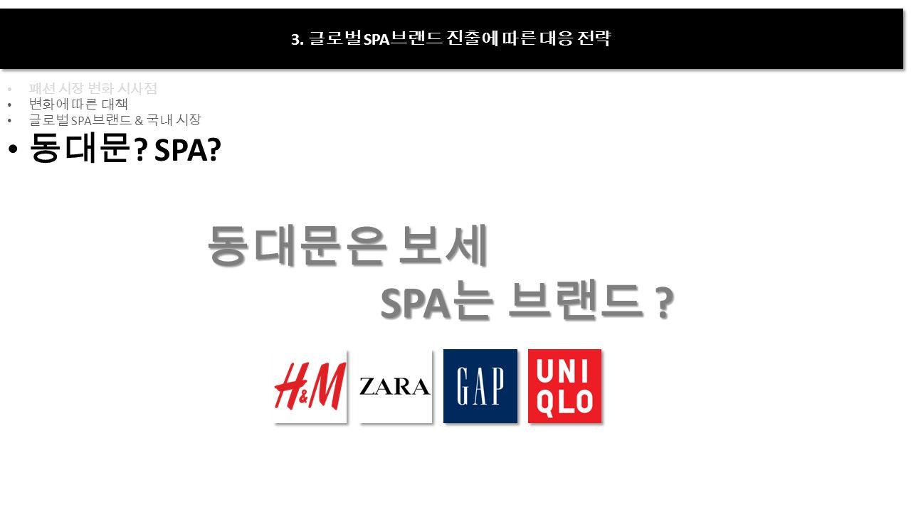 3. 글로벌 SPA 브랜드 진출에 따른 대응 전략 패션 시장 변화 시사점 변화에 따른 대책 글로벌 SPA 브랜드 & 국내 시장 동대문 .
