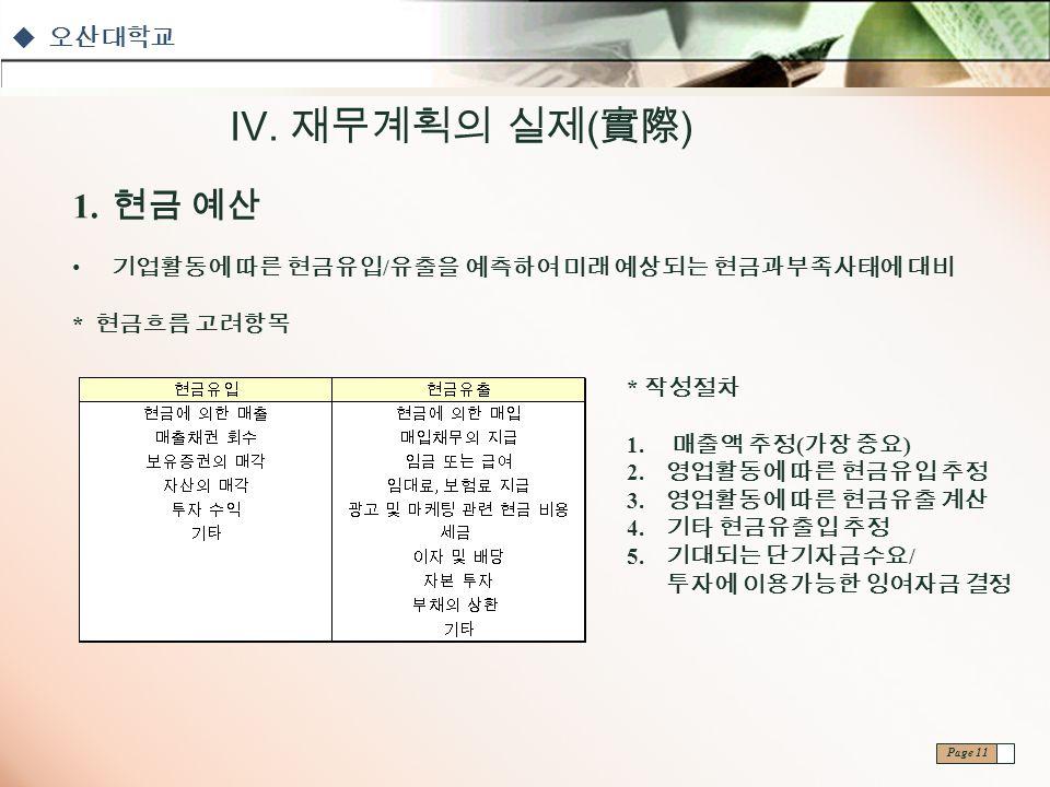 오산대학교 Page 11 Ⅳ. 재무계획의 실제 ( 實際 ) 1.