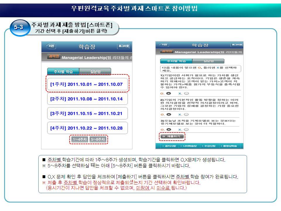 4. 주차별 과제 제출 방법 [ 스마트폰 ] 5. 기간 선택 후 [ 제출하기 ] 버튼 클릭 .