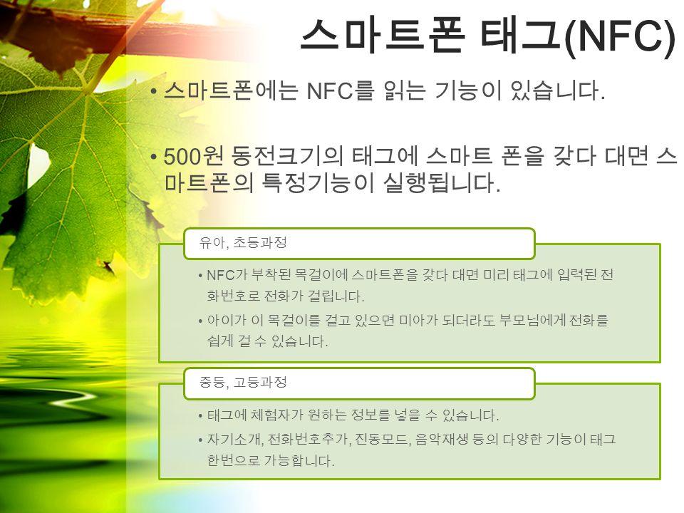 스마트폰 태그 (NFC) NFC 가 부착된 목걸이에 스마트폰을 갖다 대면 미리 태그에 입력된 전 화번호로 전화가 걸립니다.