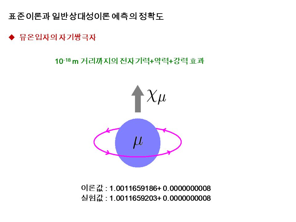 표준이론과 일반상대성이론 예측의 정확도  뮤온입자의 자기쌍극자 10 -18 m 거리까지의 전자기력 + 약력 + 강력 효과 이론값 : 1.0011659186+ 0.0000000008 실험값 : 1.0011659203+ 0.0000000008