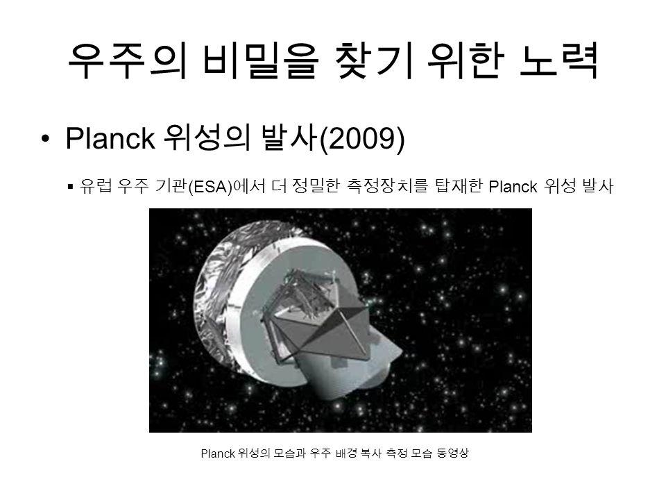 우주의 비밀을 찾기 위한 노력 Planck 위성의 발사 (2009)  유럽 우주 기관 (ESA) 에서 더 정밀한 측정장치를 탑재한 Planck 위성 발사 Planck 위성의 모습과 우주 배경 복사 측정 모습 동영상
