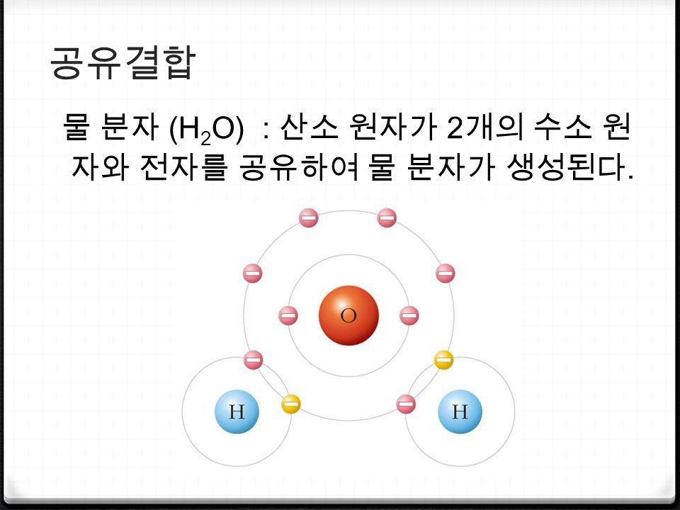 공유결합 물 분자 (H 2 O) : 산소 원자가 2 개의 수소 원 자와 전자를 공유하여 물 분자가 생성된다.