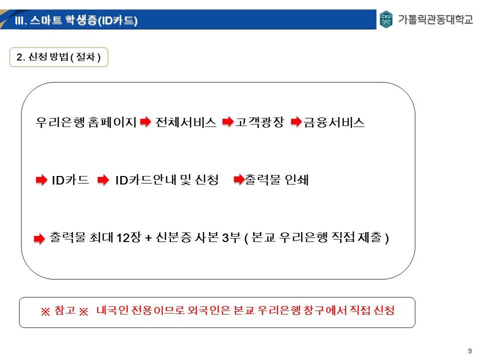 9 Ⅲ. 스마트 학생증 (ID 카드 ) 2.