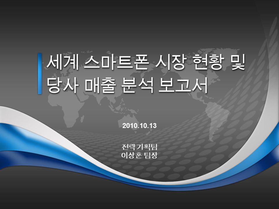 세계 스마트폰 시장 현황 및 당사 매출 분석 보고서 2010.10.13 전략기획팀 이상훈 팀장