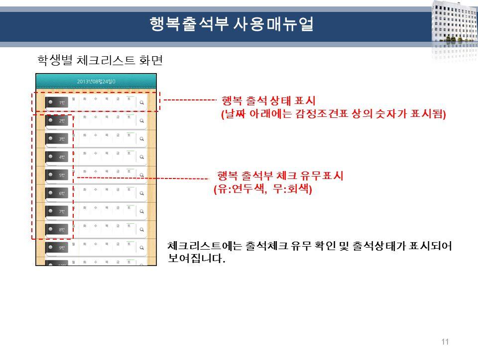 11 학생별 체크리스트 화면 체크리스트에는 출석체크 유무 확인 및 출석상태가 표시되어 보여집니다.