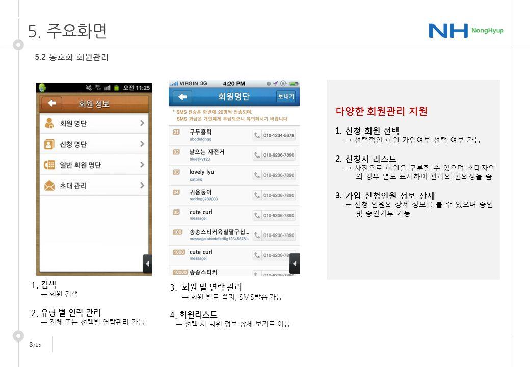 8 /15 1. 구현방안 5.2 동호회 회원관리 5. 주요화면 1. 검색 → 회원 검색 2.