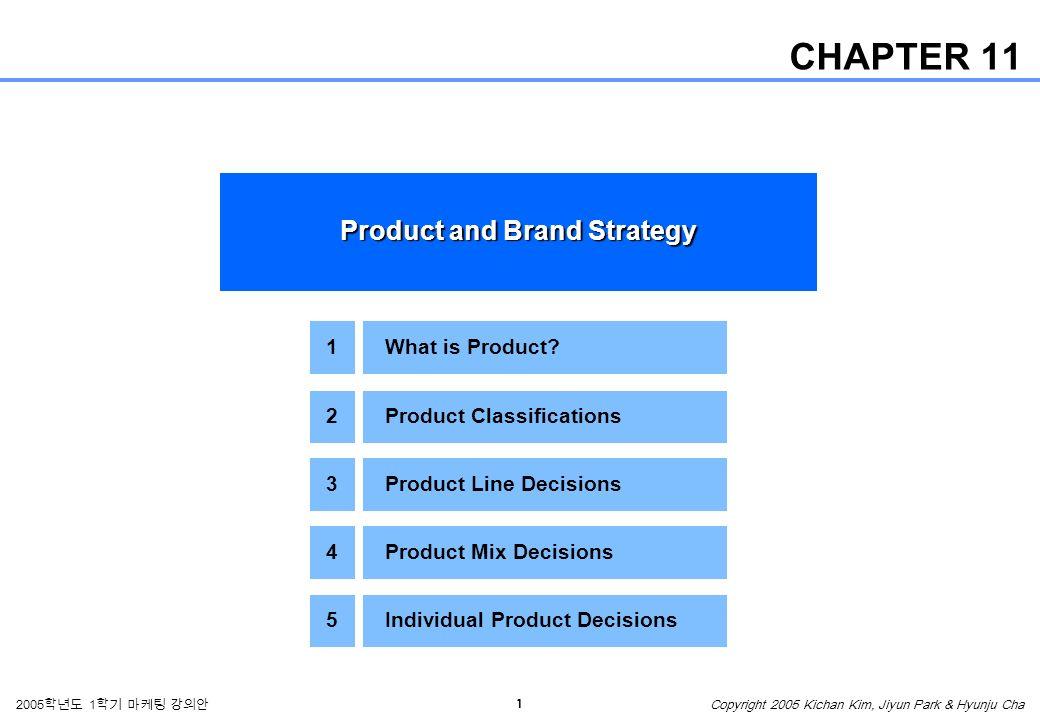 1 2005 학년도 1 학기 마케팅 강의안 Copyright 2005 Kichan Kim, Jiyun Park & Hyunju Cha CHAPTER 11 Product and Brand Strategy 1What is Product.