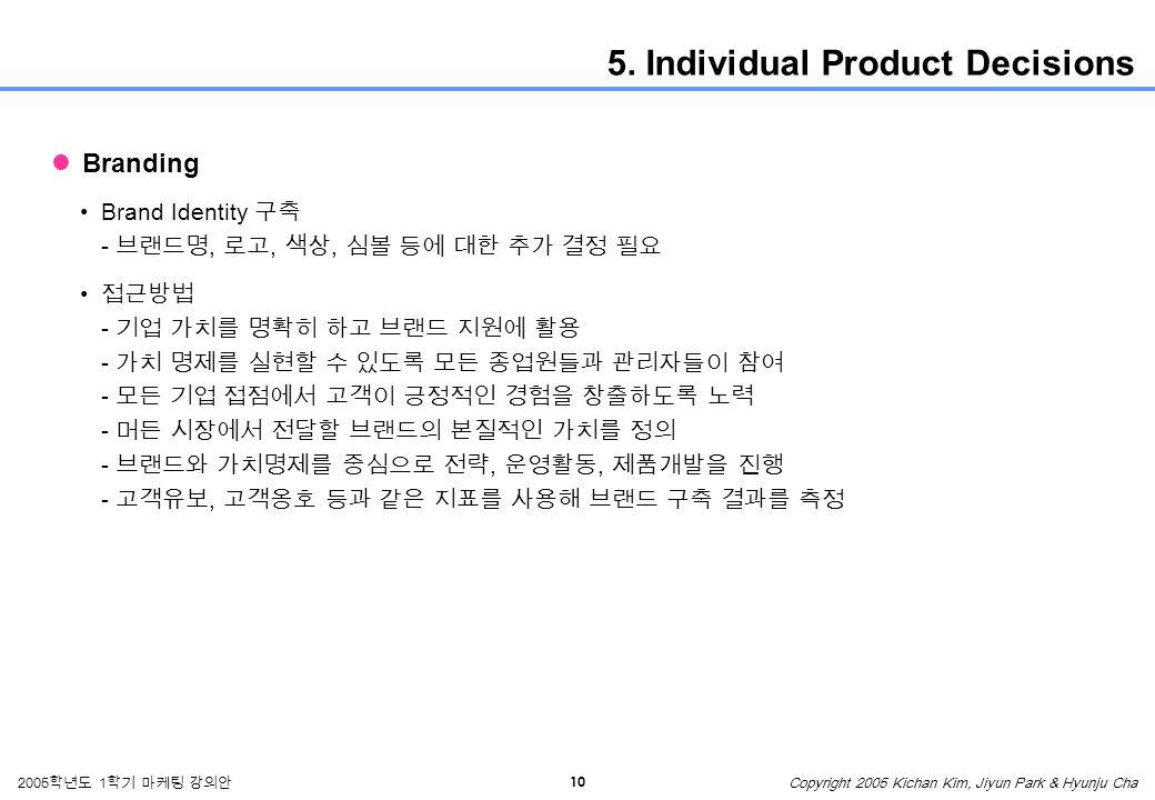 10 2005 학년도 1 학기 마케팅 강의안 Copyright 2005 Kichan Kim, Jiyun Park & Hyunju Cha 5.