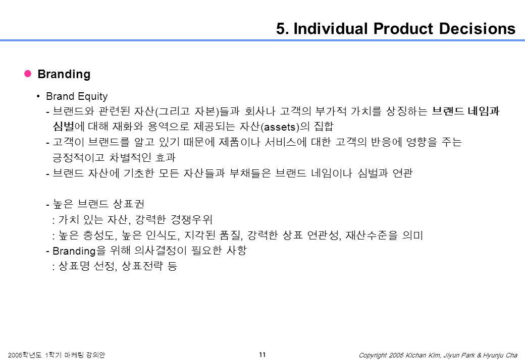 11 2005 학년도 1 학기 마케팅 강의안 Copyright 2005 Kichan Kim, Jiyun Park & Hyunju Cha 5.