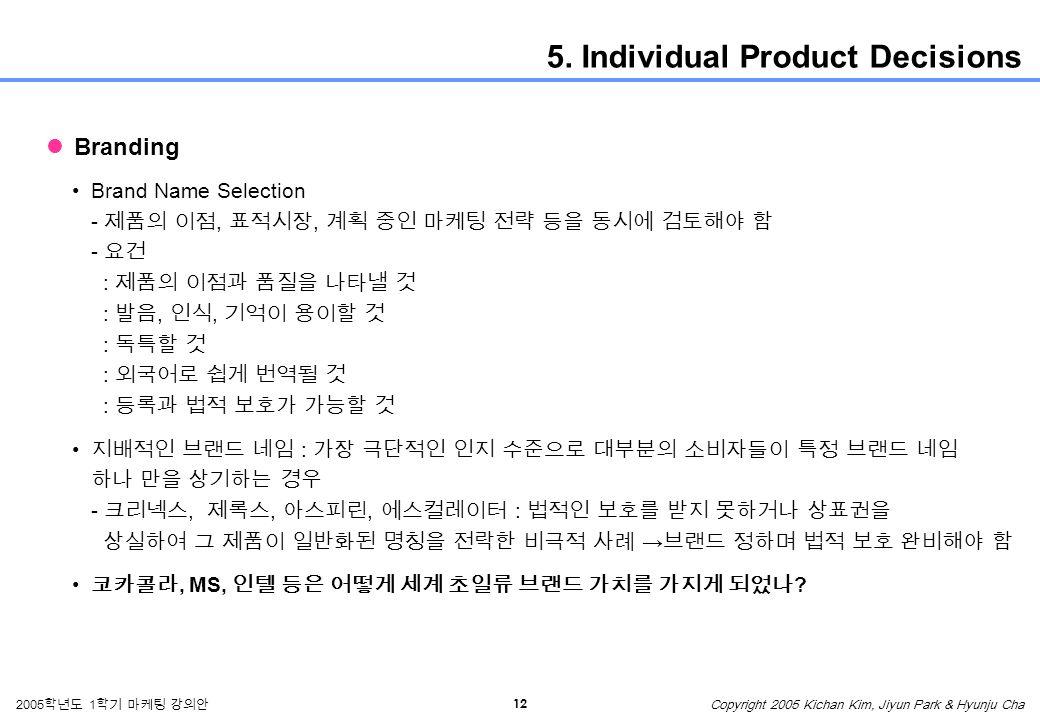 12 2005 학년도 1 학기 마케팅 강의안 Copyright 2005 Kichan Kim, Jiyun Park & Hyunju Cha 5.