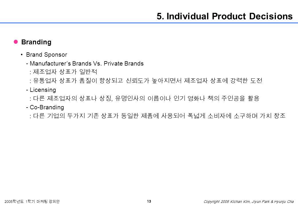 13 2005 학년도 1 학기 마케팅 강의안 Copyright 2005 Kichan Kim, Jiyun Park & Hyunju Cha 5.