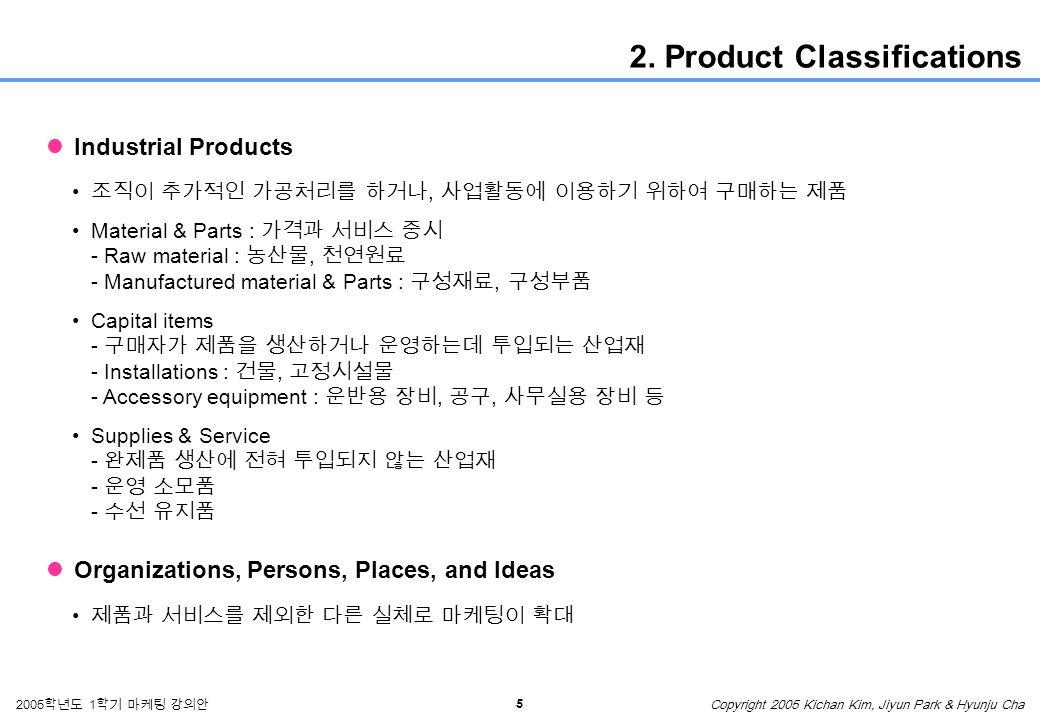 5 2005 학년도 1 학기 마케팅 강의안 Copyright 2005 Kichan Kim, Jiyun Park & Hyunju Cha 2.