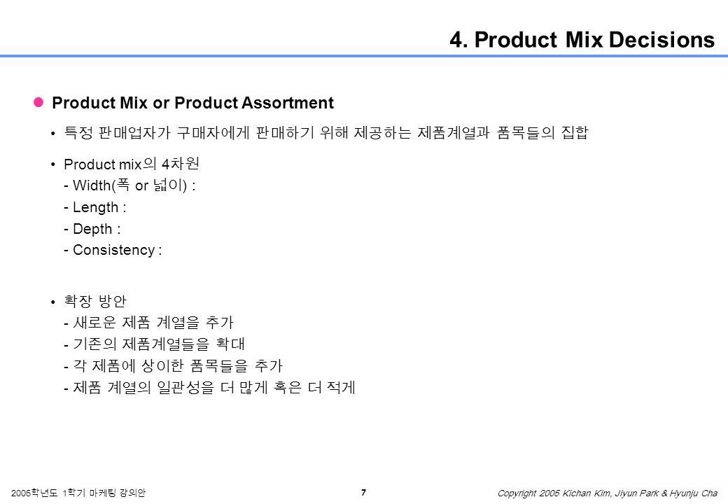 7 2005 학년도 1 학기 마케팅 강의안 Copyright 2005 Kichan Kim, Jiyun Park & Hyunju Cha 4.