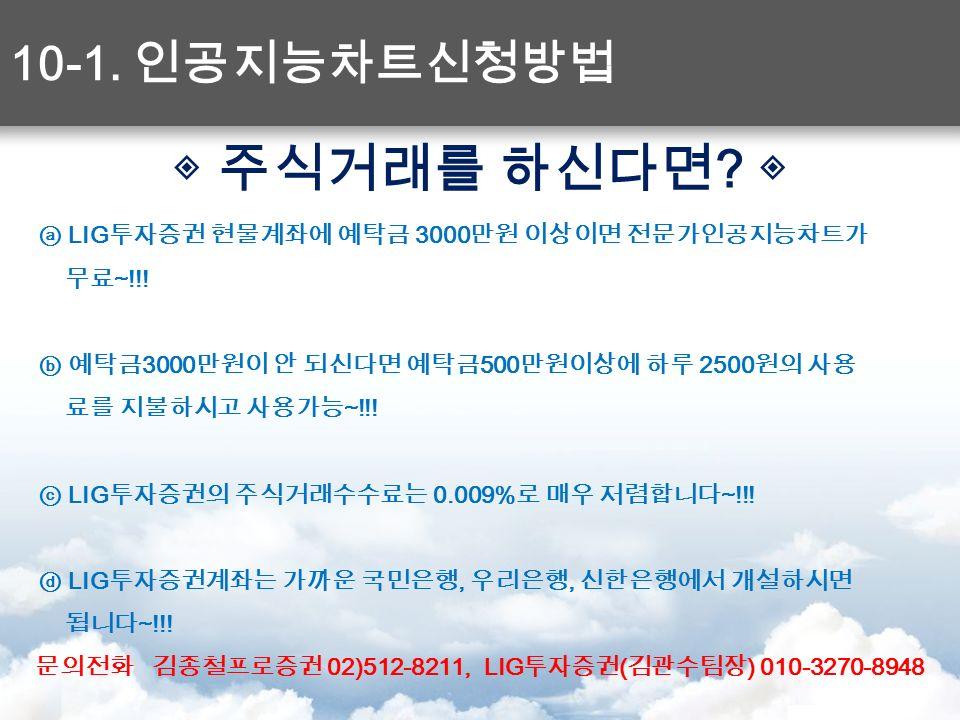 ◈ 주식거래를 하신다면 . ◈ ⓐ LIG 투자증권 현물계좌에 예탁금 3000 만원 이상이면 전문가인공지능차트가 무료 ~!!.