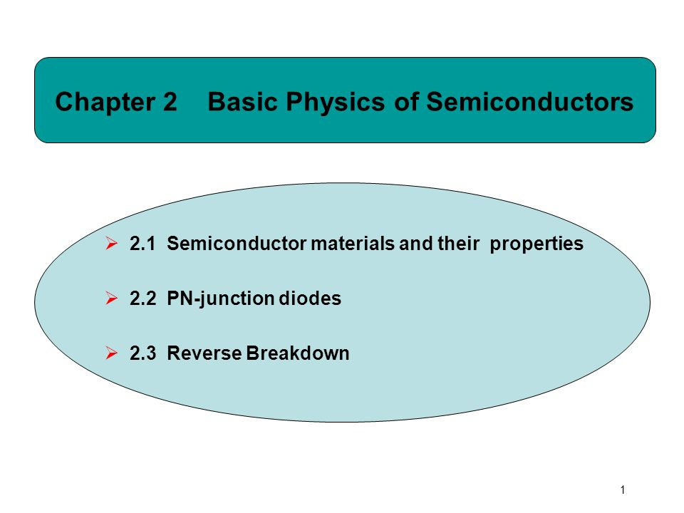 1 Chapter 2 Basic Physics of Semiconductors  2.1 Semiconductor materials and their properties  2.2 PN-junction diodes  2.3 Reverse Breakdown