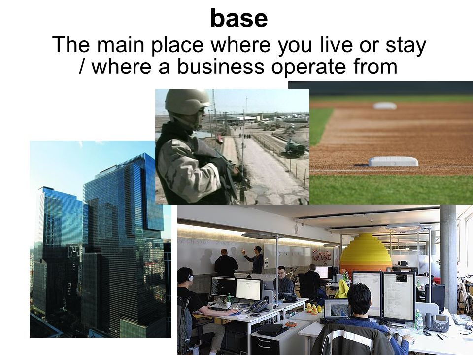 base The main place where you live or stay / where a business operate from