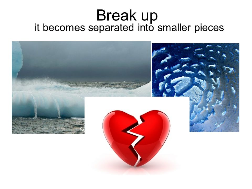 Break up it becomes separated into smaller pieces