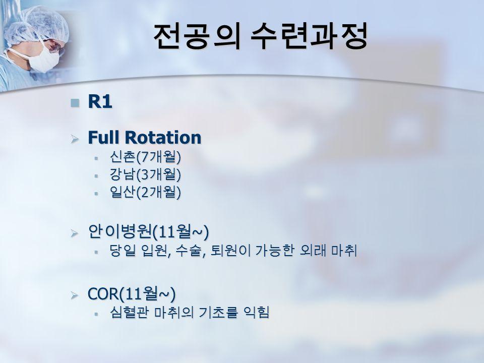 전공의 수련과정 R1 R1  Full Rotation  신촌 (7 개월 )  강남 (3 개월 )  일산 (2 개월 )  안이병원 (11 월 ~)  당일 입원, 수술, 퇴원이 가능한 외래 마취  COR(11 월 ~)  심혈관 마취의 기초를 익힘