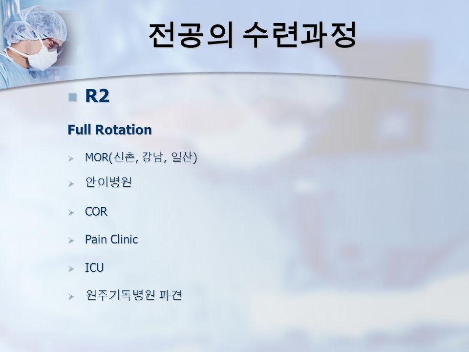 전공의 수련과정 R2 R2 Full Rotation  MOR( 신촌, 강남, 일산 )  안이병원  COR  Pain Clinic  ICU  원주기독병원 파견