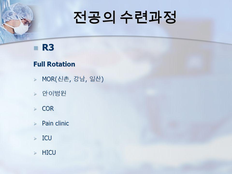 전공의 수련과정 R3 R3 Full Rotation  MOR( 신촌, 강남, 일산 )  안이병원  COR  Pain clinic  ICU  HICU