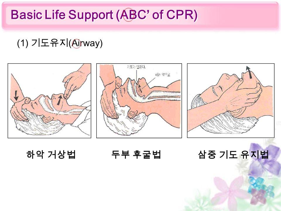 (1) 기도유지 (Airway) Basic Life Support (ABC' of CPR) 하악 거상법두부 후굴법삼중 기도 유지법