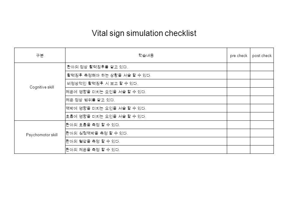 Vital sign simulation checklist 구분학습내용 pre checkpost check Cognitive skill 환아의 정상 활력징후를 알고 있다.
