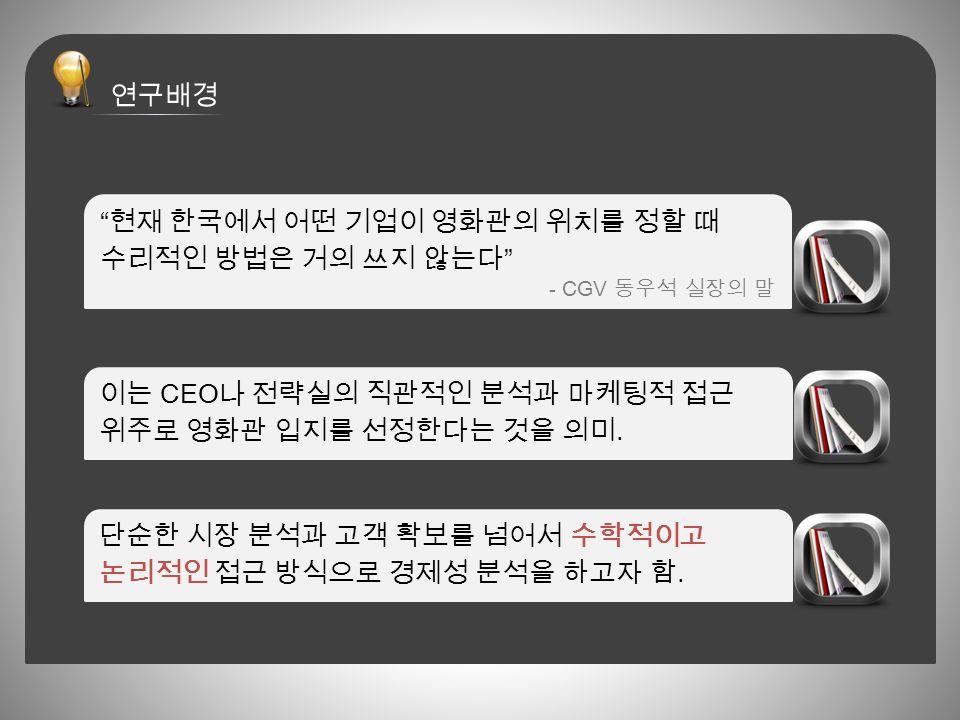 현재 한국에서 어떤 기업이 영화관의 위치를 정할 때 수리적인 방법은 거의 쓰지 않는다 - CGV 동우석 실장의 말 이는 CEO 나 전략실의 직관적인 분석과 마케팅적 접근 위주로 영화관 입지를 선정한다는 것을 의미.