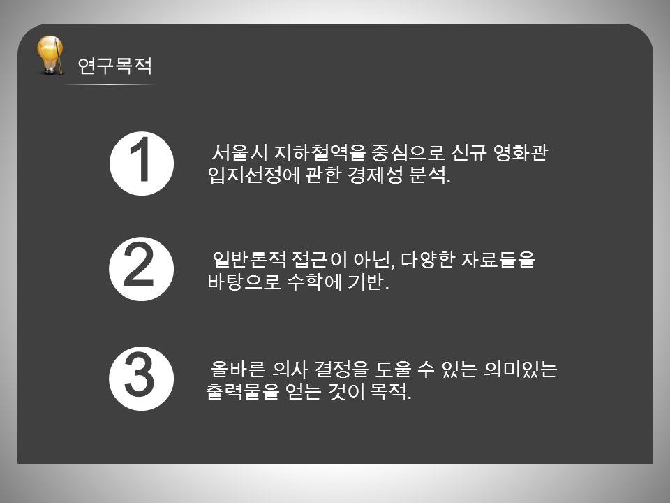 서울시 지하철역을 중심으로 신규 영화관 입지선정에 관한 경제성 분석. 일반론적 접근이 아닌, 다양한 자료들을 바탕으로 수학에 기반.