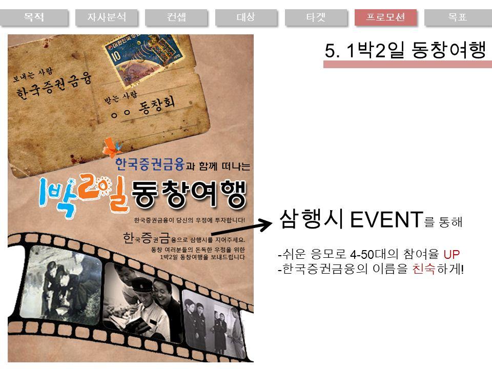 삼행시 EVENT 를 통해 - 쉬운 응모로 4-50 대의 참여율 UP - 한국증권금융의 이름을 친숙하게 .