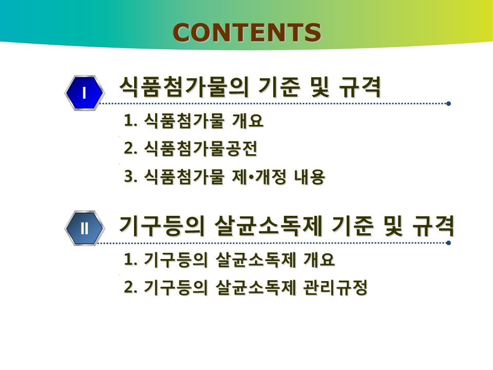 식품첨가물의 기준 및 규격 1. 식품첨가물 개요 1. 식품첨가물 개요. 2. 식품첨가물공전 2.