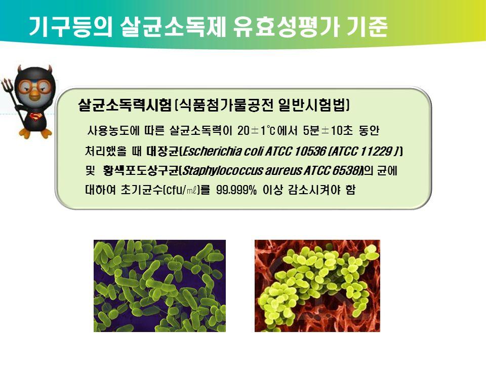 살균소독력시험 (식품첨가물공전 일반시험법) 사용농도에 따른 살균소독력이 20±1℃에서 5분±10초 동안 처리했을 때 대장균(Escherichia coli ATCC 10536 (ATCC 11229 ) ) 및 황색포도상구균(Staphylococcus aureus ATCC 6538))의 균에 대하여 초기균수(cfu/㎖)를 99.999% 이상 감소시켜야 함 기구등의 살균소독제 유효성평가 기준