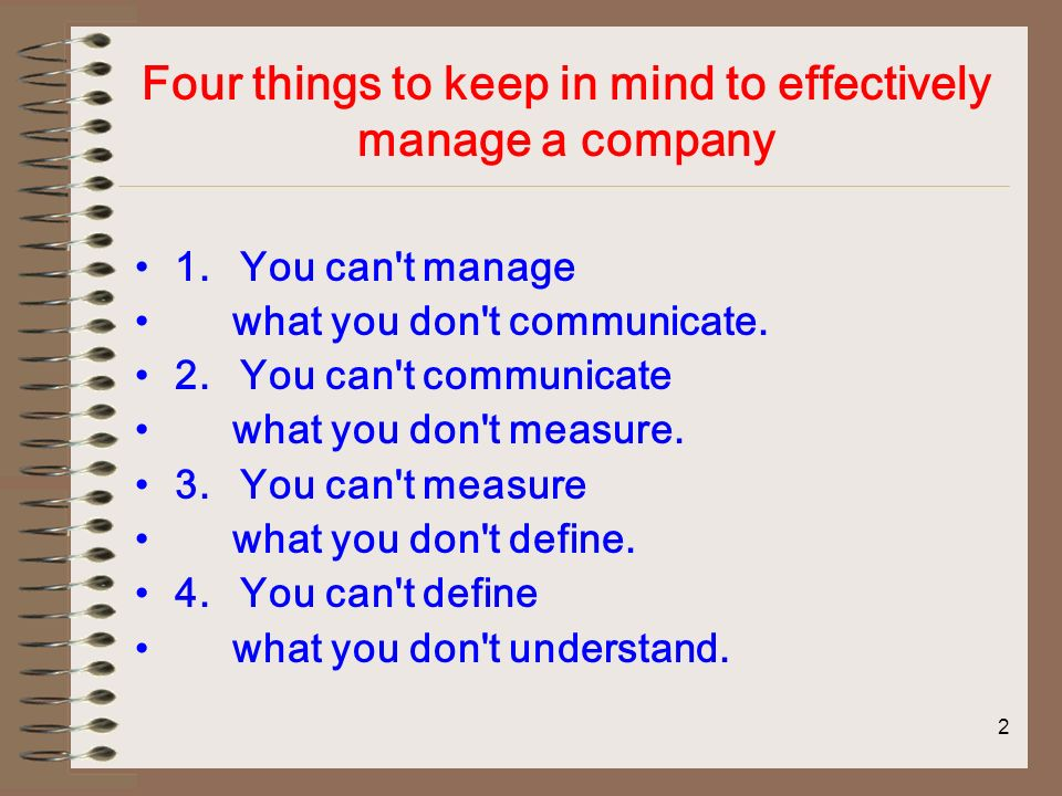 2 Four things to keep in mind to effectively manage a company 1.