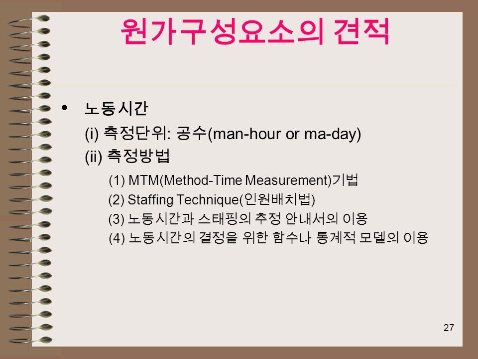 27 원가구성요소의 견적 노동시간 (i) 측정단위 : 공수 (man-hour or ma-day) (ii) 측정방법 (1) MTM(Method-Time Measurement) 기법 (2) Staffing Technique( 인원배치법 ) (3) 노동시간과 스태핑의 추정 안내서의 이용 (4) 노동시간의 결정을 위한 함수나 통계적 모델의 이용