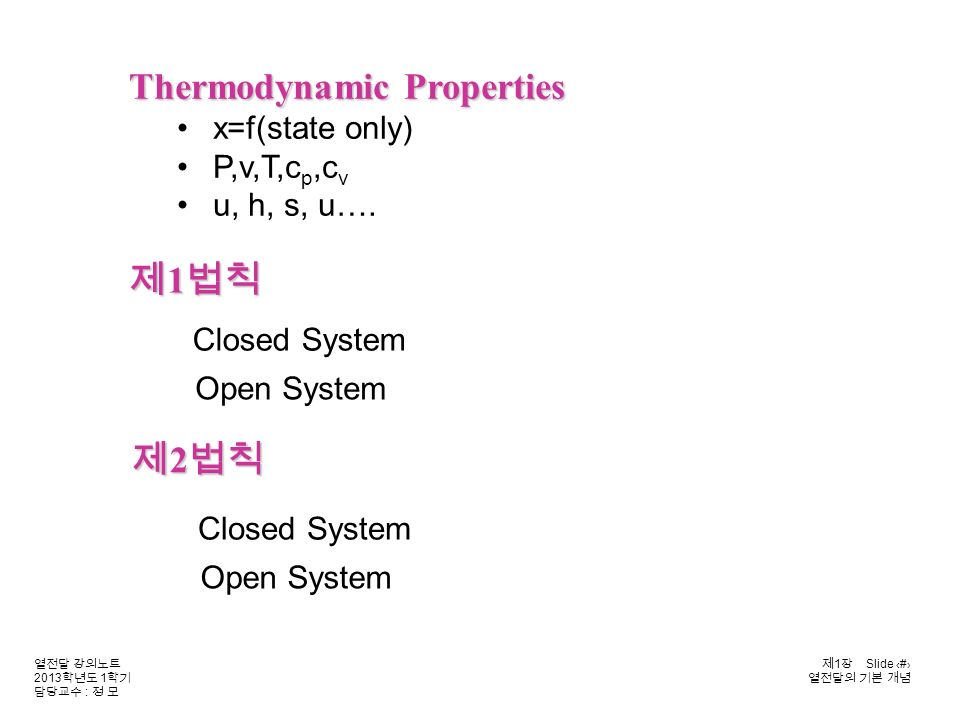 열전달 강의노트 2013 학년도 1 학기 담당교수 : 정 모 제 1 장 Slide 7 열전달의 기본 개념 Closed System Open System 제 1 법칙 제 2 법칙 Closed System Open System Thermodynamic Properties x=f(state only) P,v,T,c p,c v u, h, s, u….