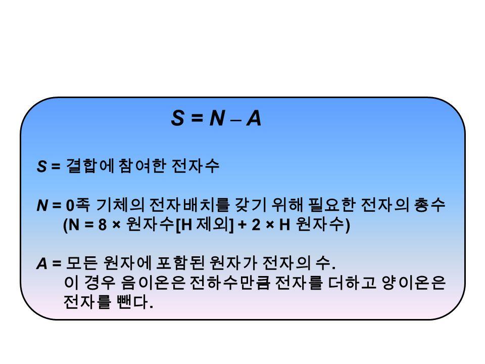 S = N – A S = 결합에 참여한 전자수 N = 0 족 기체의 전자배치를 갖기 위해 필요한 전자의 총수 (N = 8 × 원자수 [H 제외 ] + 2 × H 원자수 ) A = 모든 원자에 포함된 원자가 전자의 수.