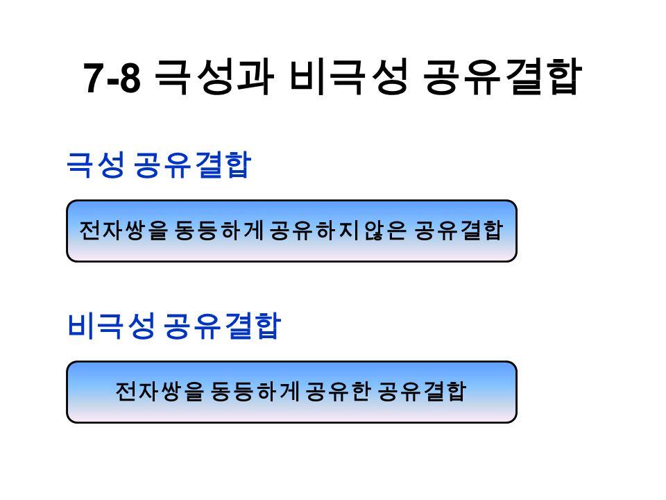 7-8 극성과 비극성 공유결합 극성 공유결합 전자쌍을 동등하게 공유하지 않은 공유결합 비극성 공유결합 전자쌍을 동등하게 공유한 공유결합