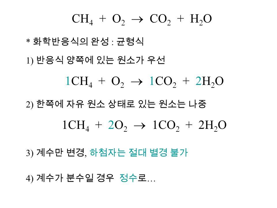 * 화학반응식의 완성 : 균형식 1) 반응식 양쪽에 있는 원소가 우선 1CH 4 + O 2  1CO 2 + 2H 2 O 2) 한쪽에 자유 원소 상태로 있는 원소는 나중 1CH 4 + 2O 2  1CO 2 + 2H 2 O 3) 계수만 변경, 하첨자는 절대 별경 불가 4) 계수가 분수일 경우 정수로 …