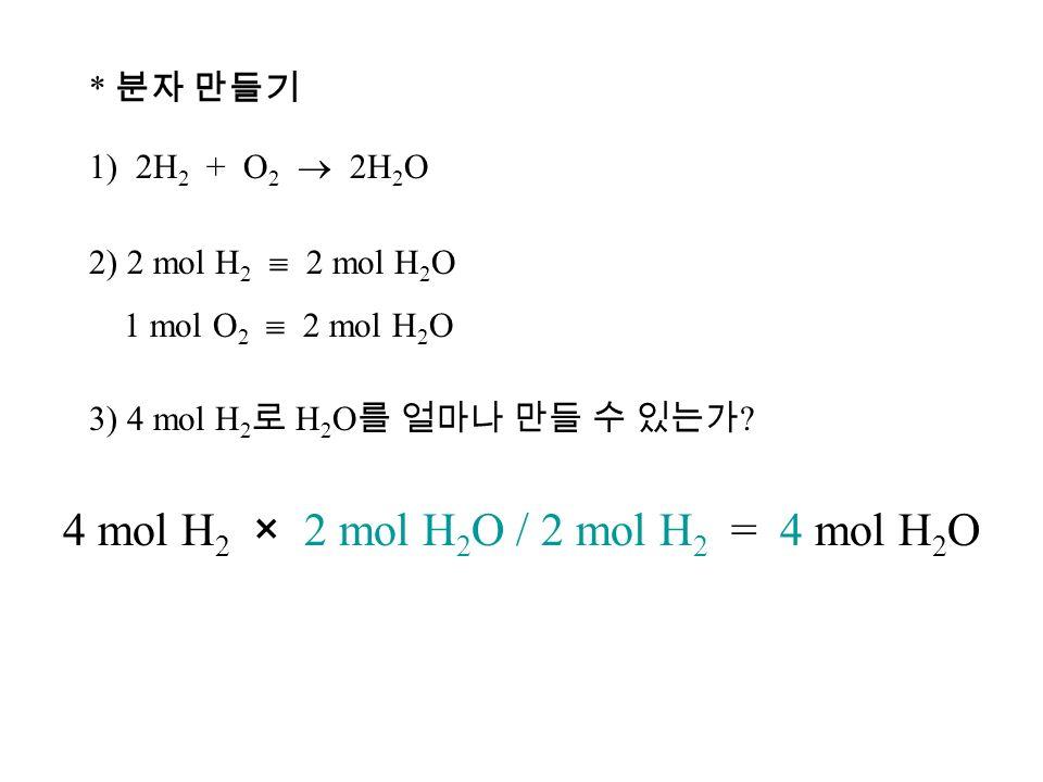 * 분자 만들기 1) 2H 2 + O 2  2H 2 O 2) 2 mol H 2  2 mol H 2 O 1 mol O 2  2 mol H 2 O 3) 4 mol H 2 로 H 2 O 를 얼마나 만들 수 있는가 .