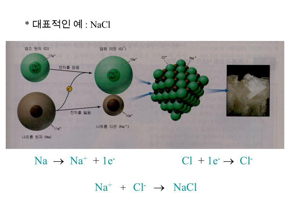 * 대표적인 예 : NaCl Na  Na + + 1e - Cl + 1e -  Cl - Na + + Cl -  NaCl